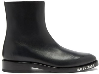 Balenciaga Soft Logo-debossed Leather Boots - Black