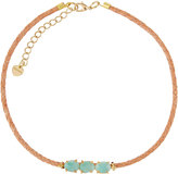 Nakamol Triple Amazonite & Braided Leather Choker Necklace