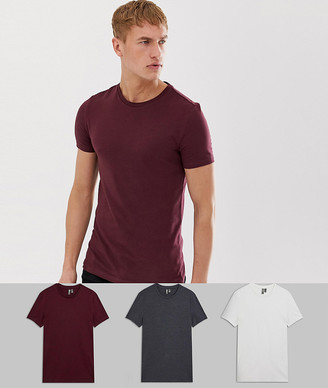 Asos Design DESIGN 3 pack organic muscle fit t-shirt with crew neck save-Multi