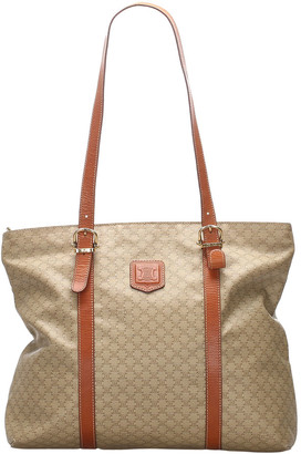 Celine Brown/Beige Macadam Canvas Leather Tote Bag
