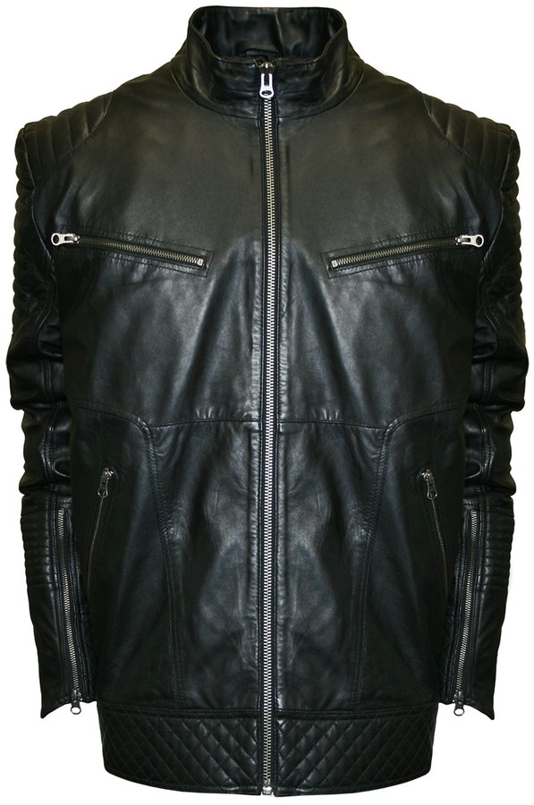 Lambskin Leather Moto Jacket Men Shopstyle