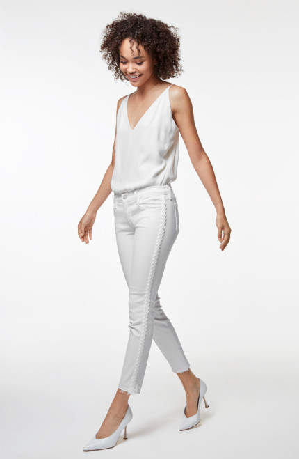 J Brand 9326 Low-Rise Cropped Skinny In Braided Blanc