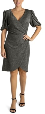 Julia Jordan Pleated-Side Puff-Sleeve Bodycon Dress