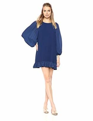 Halston Women's Blouson Sleeve Scoop Neck Dress with Ruffle Hem