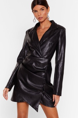 Nasty Gal Womens Touch Me Faux Leather Blazer Dress - Black - 4, Black