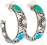 John Hardy Blue Topaz & Enamel Hoop Earrings