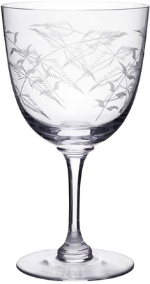Six Hand-Engraved Crystal Wine Glasses with Ferns Design