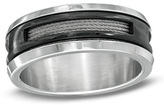 Zales Men's 8.0mm Cable Spinner Comfort Fit Wedding Band in Two-Tone Stainless Steel
