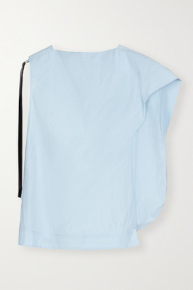 3.1 Phillip Lim Asymmetric Canvas-trimmed Cotton-blend Poplin Top - Sky blue