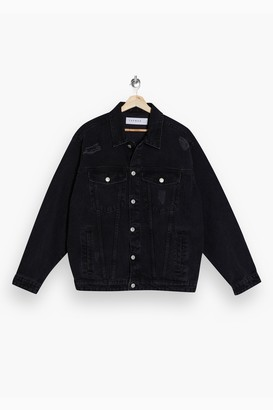 Topman Womens Black Ripped Denim Jacket - Black