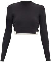 Vaara Orie Block-stripe Long-sleeve Cropped Top - Womens - Black White