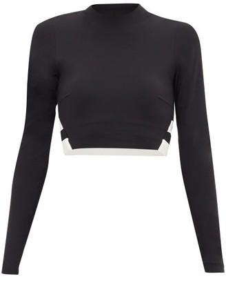 Vaara Orie Block-stripe Long-sleeve Cropped Top - Black White