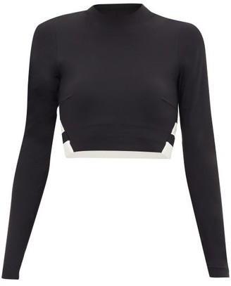Vaara Orie Block-stripe Long-sleeve Cropped Top - Womens - Black White