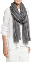 Brunello Cucinelli Metallic Plaid Knit Scarf, Gray