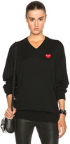 Comme des Garcons Wool Jersey Intarsia Red Emblem Sweater in Black.