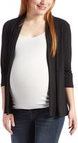 Glam Black Three-Quarter Sleeve Maternity Open Cardigan