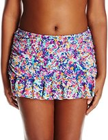 Kenneth Cole Reaction Women's Plus-Size Don't Mesh with Me Skirted Bikini Bottom