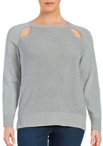 MICHAEL Michael Kors Plus Crewneck Cutout Hi-Lo Metallic Sweater