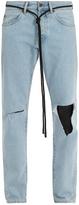 Off-White Ripped diagonal-motif slim-leg jeans