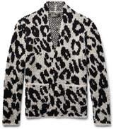 Amiri Snow Leopard Bouclé-knit Wool-blend Cardigan - Ivory