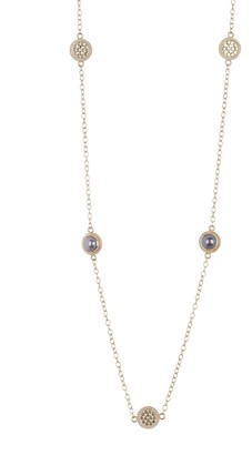 Anna Beck 18K Yellow Gold Plated Sterling Silver Blue Pearl Station Necklace