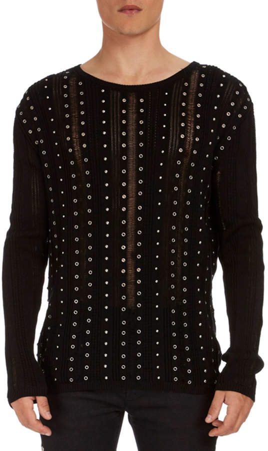 Balmain Studded Stripe Cotton Sweater