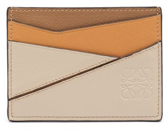 Loewe Puzzle Leather Cardholder - Beige Multi