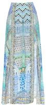 Camilla Sultans Gate-print hem-slit silk trousers