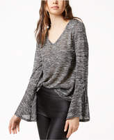 Bar III Lace-Up Bell-Sleeve Top, Created for Macy's