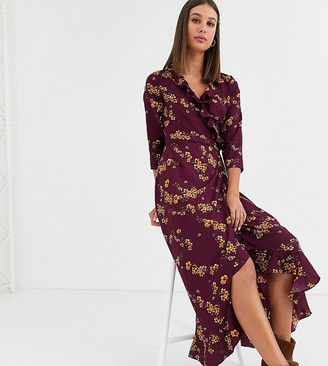 Vero Moda Tall floral ruffle wrap dress