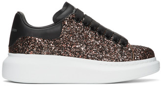 Alexander McQueen SSENSE Exclusive Black and Red Galaxy Glitter Oversized Sneakers