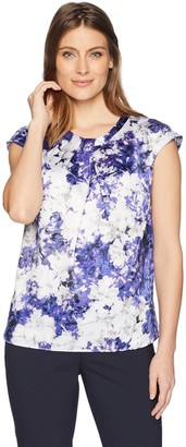 Kasper Women's Peony Printed Charmeuse Extend Cap Sleeve Blouse
