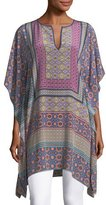 Trina Turk Split-Neck Draped Multi-Printed Kaftan Tunic