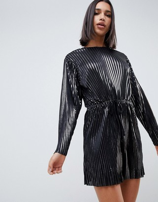 Asos Design DESIGN pewter pleated mini dress with drawstring waist-Silver