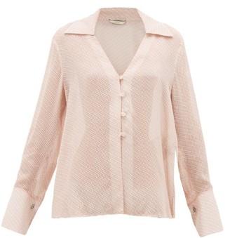 Fendi Gloria Fil-coupe Silk-blend Blouse - Pink