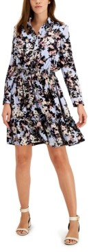 Thumbnail for your product : Taylor Petite Printed Fit & Flare Shirtdress