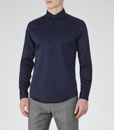 Reiss Reiss Jupiter - Concealed Placket Shirt In Blue