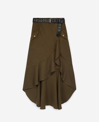 The Kooples Khaki long asymmetrical skirt with belt