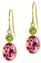 Gem Stone King Carlo Bianca 14k Yellow Gold Earrings Pink Natural Topaz Cut by Swarovski