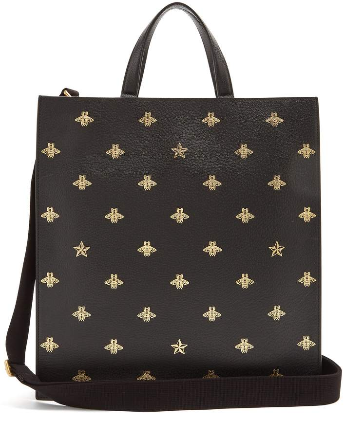 Gucci Bee-print leather tote