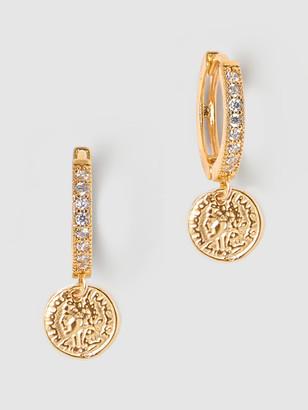 Tess + Tricia Medium Coin Huggie Earrings