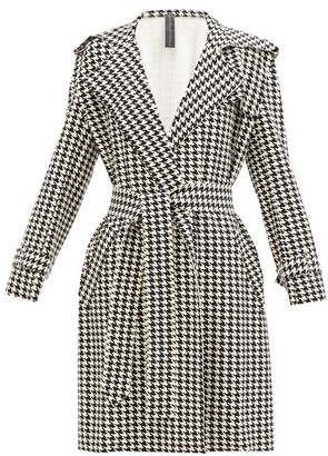 Norma Kamali Houndstooth-print Belted Trench Coat - Black/white