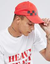 Granted Baseball Cap In Red With Checkerboard Print