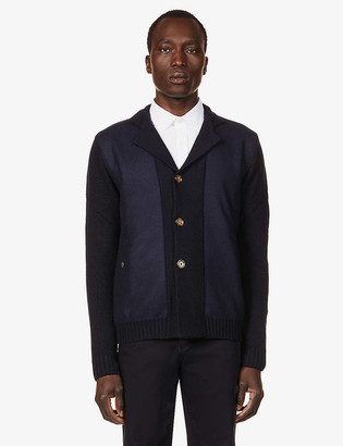 Eleventy Contrast-panel wool cardigan