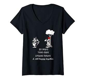 Womens 20th Marriage Anniversary Gift For Him Her 20 Years Together V-Neck T-Shirt