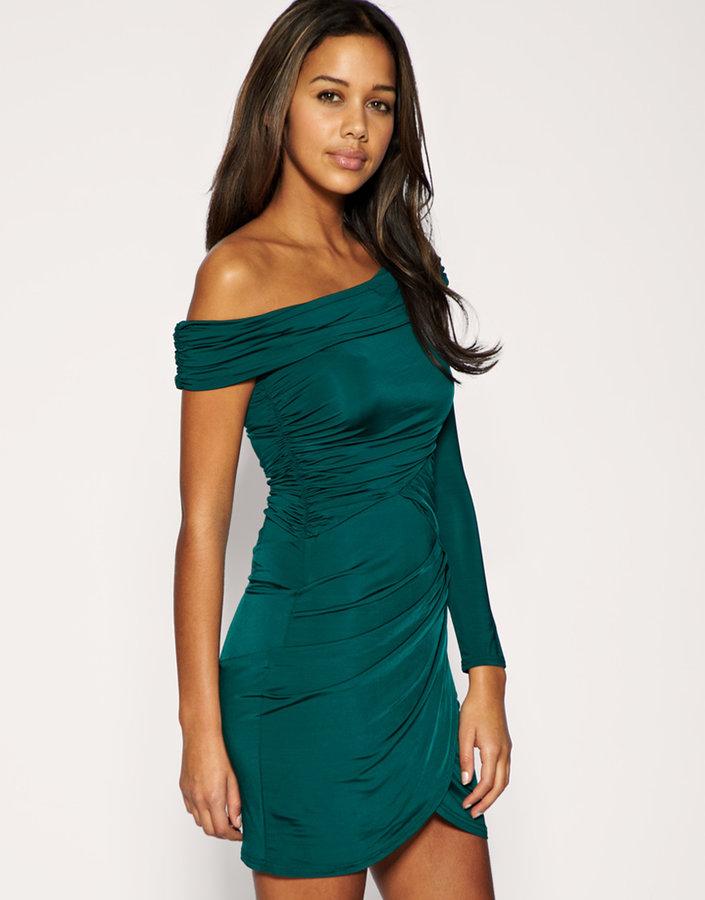 Asos One Sleeve Off The Shoulder Slinky Dress