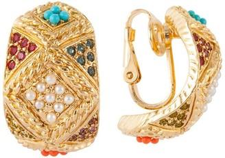 Susan Caplan Vintage 1980s Vintage D Orlan Swarovski Crystal Hoop Clip-on Earrings