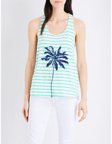 Sundry Palm-print striped cotton-jersey vest top