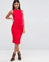 Asos Bandage High Neck Midi Bodycon Dress