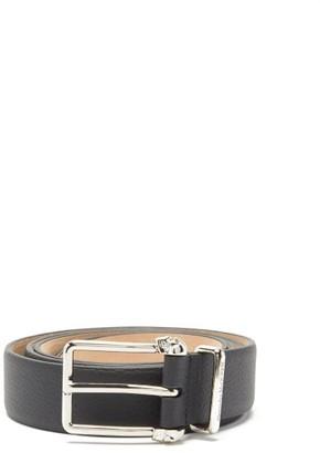Alexander McQueen Skull-buckle Grained-leather Belt - Black